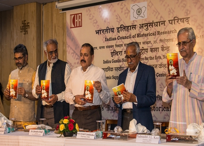 Jitendra Singh Cabinet Minister GoI Chairmen ICHR Member Secretary ICHR Member secretary IGNCA and Others Releaseing the book